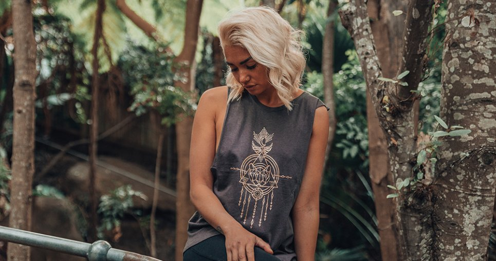 Ethical yoga wear, model wears a tank top from Free Spirit