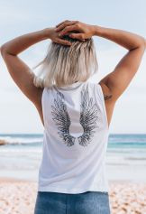 *NEW IN* Angel Wings Flow Tank - White - Organic Cotton Bamboo Yoga Top