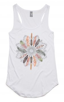 Feather Mandala - Organic Cotton Bamboo Yoga Top