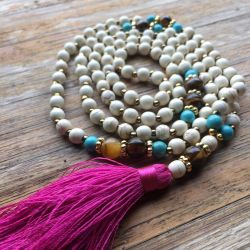 The PATIENCE Mala - with Magenta Tassle