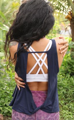 *NEW* Twist Back Top Organic Cotton & Bamboo - Navy
