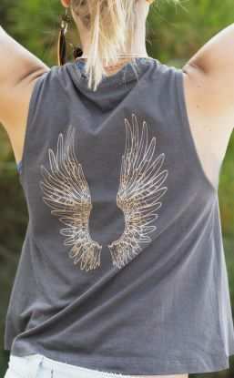 *NEW* Angel Wings Flow Tank - Grey - Organic Cotton Bamboo Yoga Top