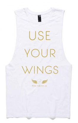 Wings WHITE - Organic Cotton Bamboo Yoga Tank