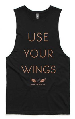 Wings BLACK - Organic Cotton Bamboo Yoga Tank