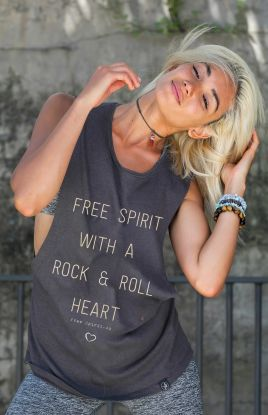 Rock & Roll GREY - Organic Cotton Bamboo Yoga Top