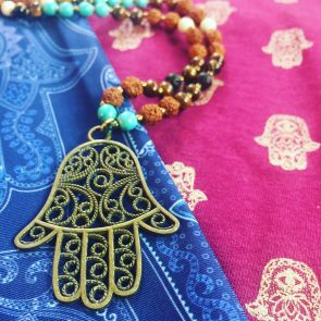 The HAMSA Mala - with Bronze Pendant
