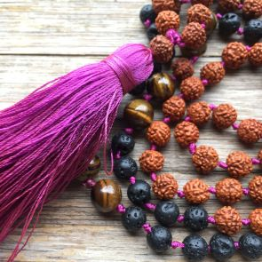 The SHIVA Mala - with Fuschia Tassle