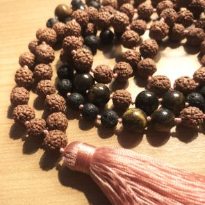 The SHIVA Mala - with Pale Pink Tassle