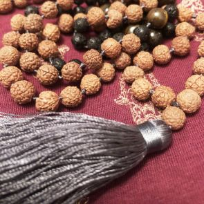 The SHIVA Mala - with Pale Grey Tassle