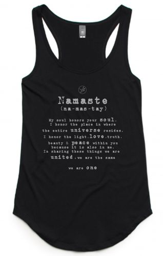 Namaste Singlet - Organic Cotton & Bamboo Yoga Top: S