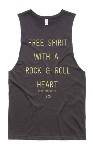Rock & Roll GREY - Organic Cotton Bamboo Yoga Top: XS