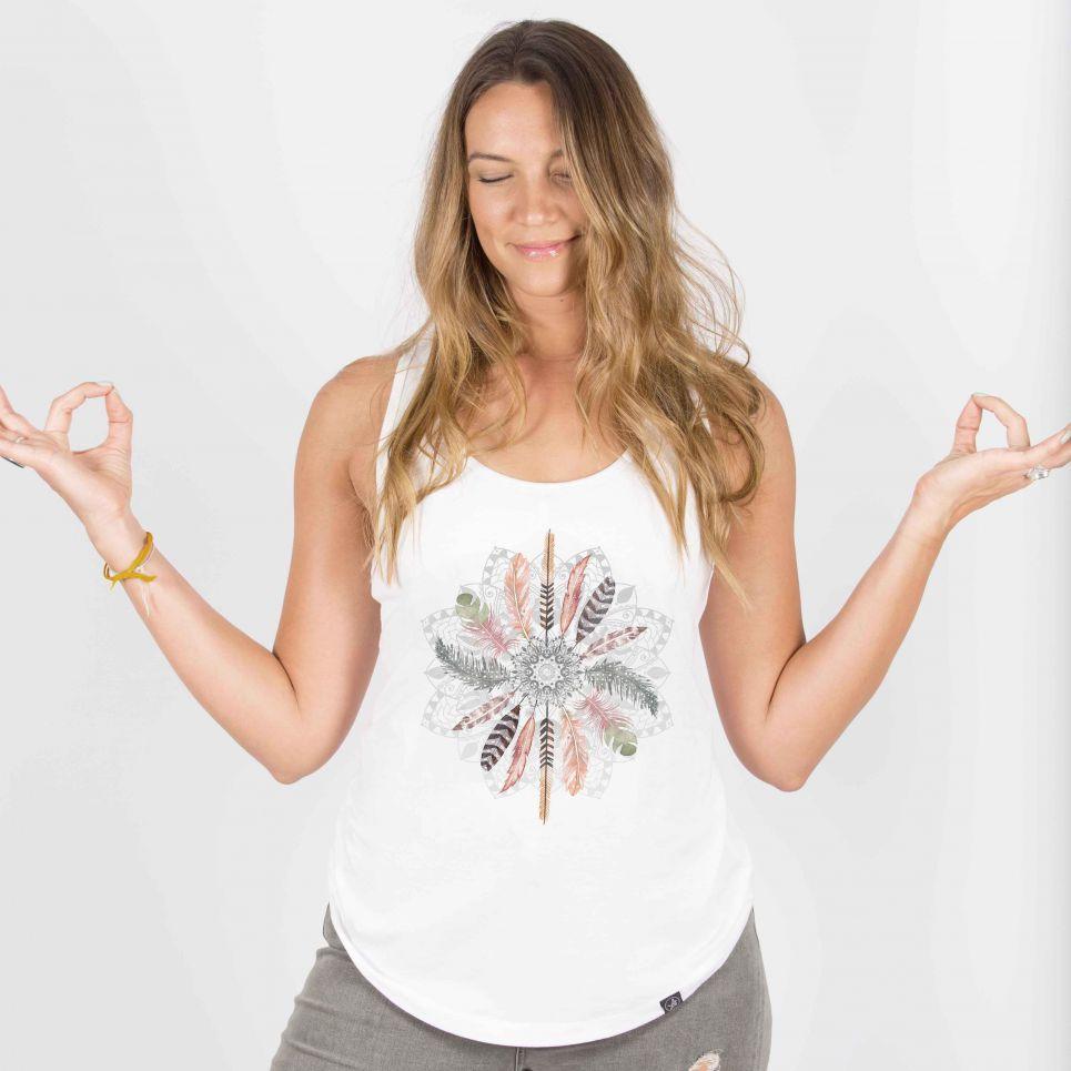 Feather Mandala - Organic Cotton Bamboo Yoga Top